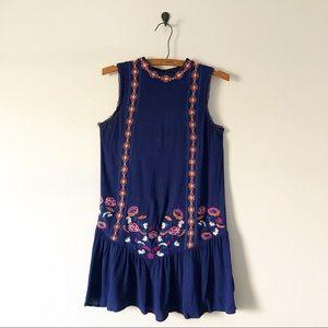 Royal Blue Embroidered Mini Dress